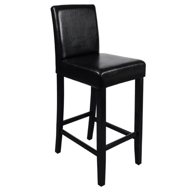 Бар стол в черна еко кожа