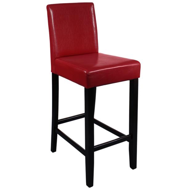 Бар стол в червена еко кожа и дърво